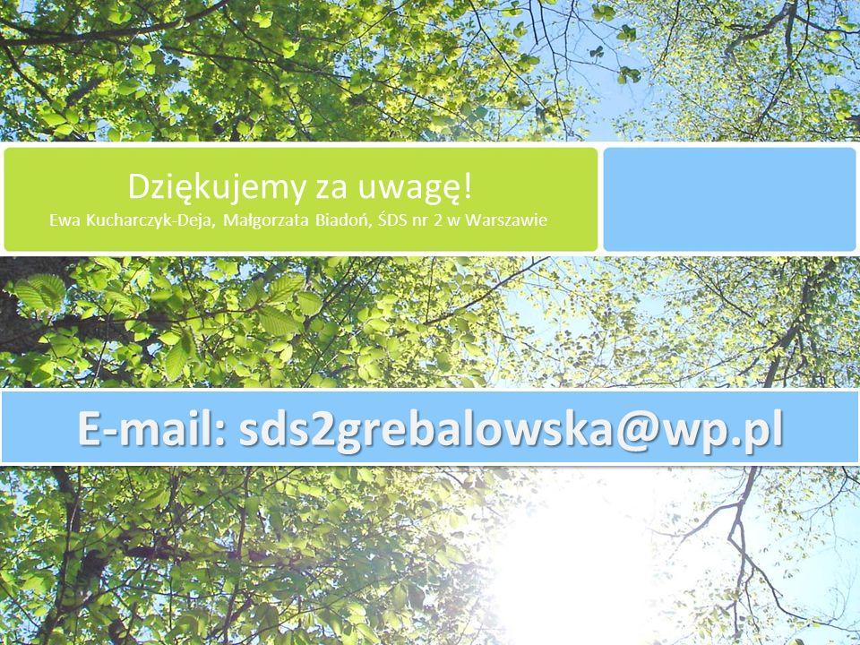 Dziękujemy za uwagę! Ewa Kucharczyk-Deja, Małgorzata Biadoń, ŚDS nr 2 w Warszawie E-mail: sds2grebalowska@wp.pl