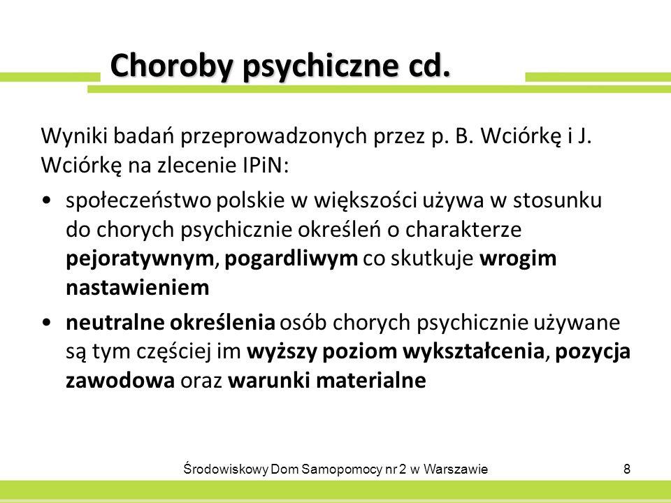 Choroby psychiczne cd.Wyniki badań przeprowadzonych przez p.