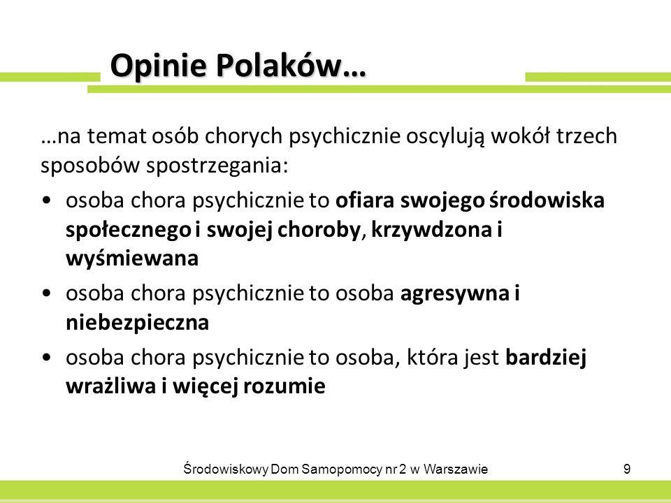 Opinie Polaków… …na temat osób chorych psychicznie oscylują wokół trzech sposobów spostrzegania: osoba chora psychicznie to ofiara swojego środowiska społecznego i swojej choroby, krzywdzona i wyśmiewana osoba chora psychicznie to osoba agresywna i niebezpieczna osoba chora psychicznie to osoba, która jest bardziej wrażliwa i więcej rozumie 9Środowiskowy Dom Samopomocy nr 2 w Warszawie