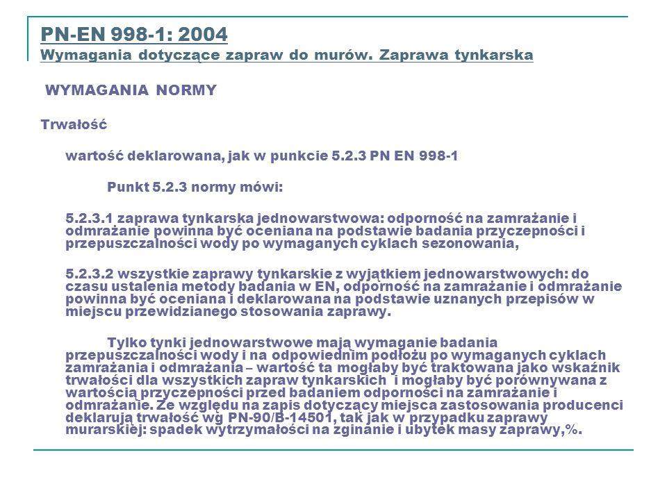 PN-EN 998-1: 2004 Wymagania dotyczące zapraw do murów. Zaprawa tynkarska WYMAGANIA NORMY Wymagania dotyczące zapraw do murów. Zaprawa t Trwałość warto