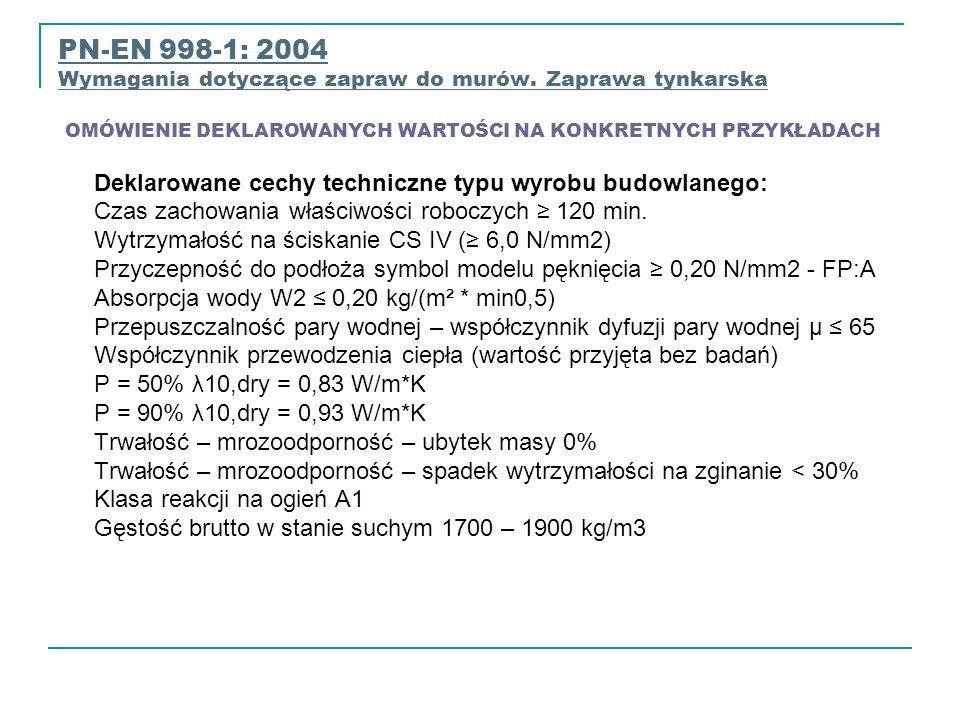 PN-EN 998-1: 2004 Wymagania dotyczące zapraw do murów. Zaprawa tynkarska OMÓWIENIE DEKLAROWANYCH WARTOŚCI NA KONKRETNYCH PRZYKŁADACH Wymagania dotyczą