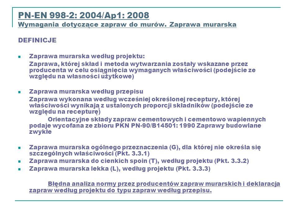 PN-EN 998-2: 2004/Ap1: 2008PN-EN 998-2: 2004/Ap1: 2008 Wymagania dotyczące zapraw do murów. Zaprawa murarska DEFINICJE Wymagania dotyczące zapraw do m