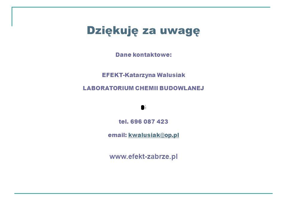 Dziękuję za uwagę Dane kontaktowe: EFEKT-Katarzyna Walusiak LABORATORIUM CHEMII BUDOWLANEJ tel. 696 087 423 email: kwalusiak@op.plkwalusiak@op.pl www.