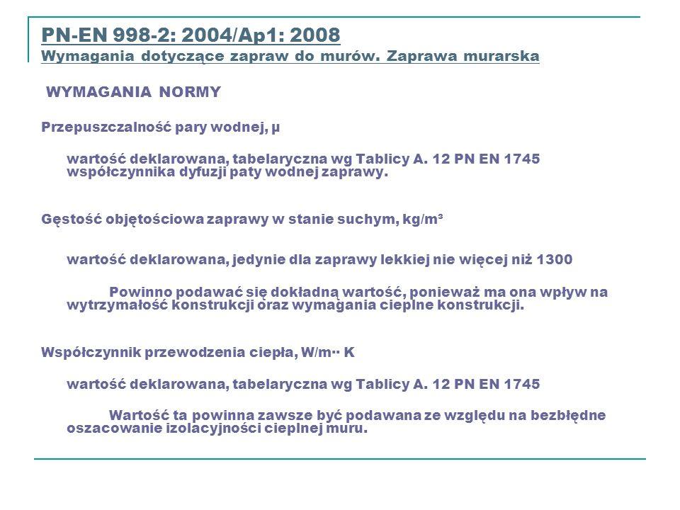 PN-EN 998-2: 2004/Ap1: 2008PN-EN 998-2: 2004/Ap1: 2008 Wymagania dotyczące zapraw do murów. Zaprawa murarska WYMAGANIA NORMY Wymagania dotyczące zapra