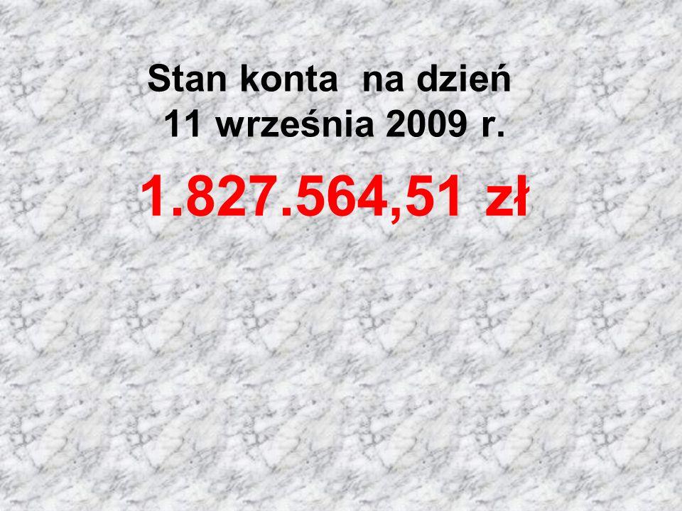 Stan konta na dzień 11 września 2009 r. 1.827.564,51 zł
