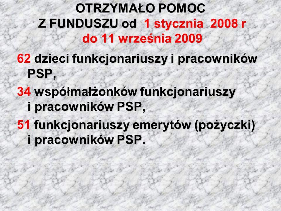 OTRZYMAŁO POMOC Z FUNDUSZU od 1 stycznia 2008 r do 11 września 2009 funkcjonariuszy i pracowników PSP, 62 dzieci funkcjonariuszy i pracowników PSP, fu