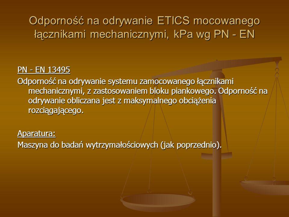 Odporność na odrywanie ETICS mocowanego łącznikami mechanicznymi, kPa wg PN - EN PN - EN 13495 Odporność na odrywanie systemu zamocowanego łącznikami
