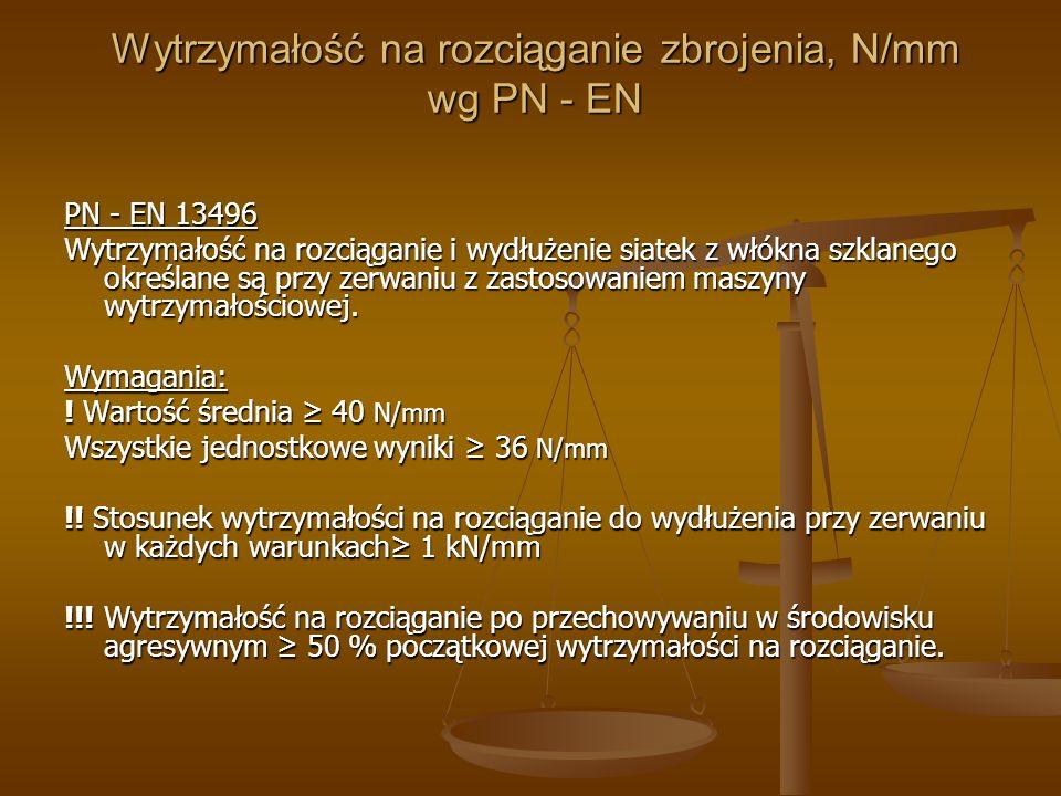 Wytrzymałość na rozciąganie zbrojenia, N/mm wg PN - EN PN - EN 13496 Wytrzymałość na rozciąganie i wydłużenie siatek z włókna szklanego określane są p