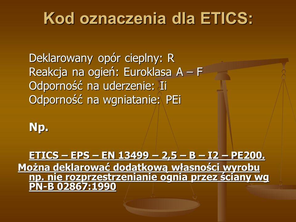 Kod oznaczenia dla ETICS: Deklarowany opór cieplny: R Reakcja na ogień: Euroklasa A – F Odporność na uderzenie: Ii Odporność na wgniatanie: PEi Np. ET