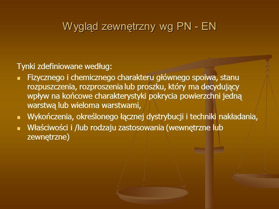Wygląd zewnętrzny wg PN - EN Tynki zdefiniowane według: Fizycznego i chemicznego charakteru głównego spoiwa, stanu rozpuszczenia, rozproszenia lub pro