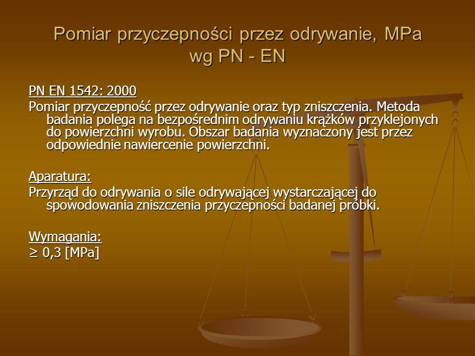 Pomiar przyczepności przez odrywanie, MPa wg PN - EN PN EN 1542: 2000 Pomiar przyczepność przez odrywanie oraz typ zniszczenia. Metoda badania polega
