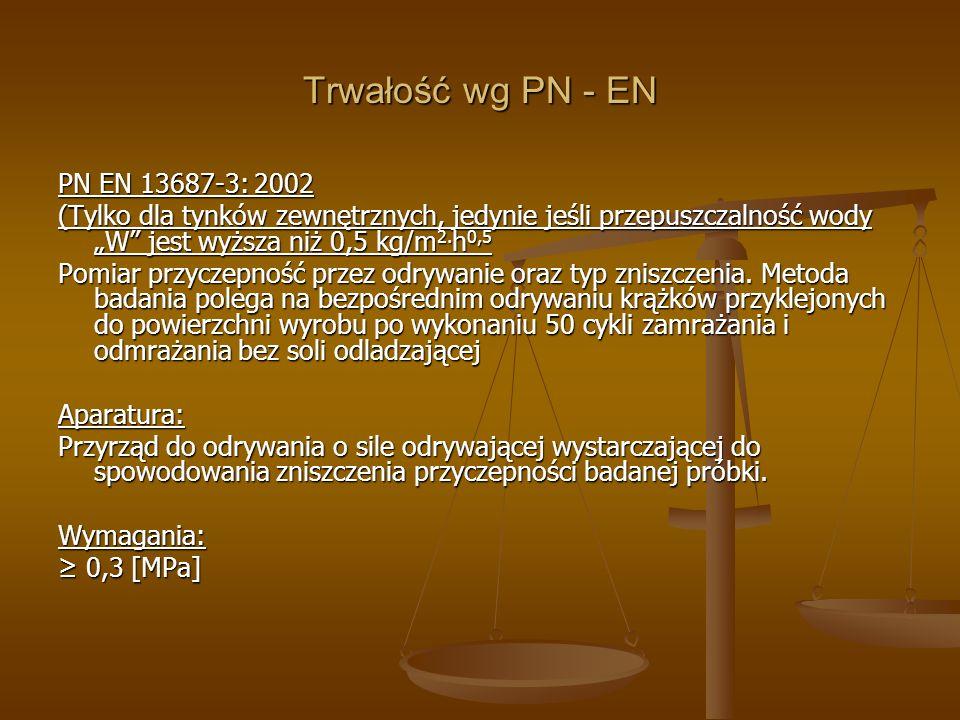 Trwałość wg PN - EN PN EN 13687-3: 2002 (Tylko dla tynków zewnętrznych, jedynie jeśli przepuszczalność wody W jest wyższa niż 0,5 kg/m 2. h 0,5 Pomiar