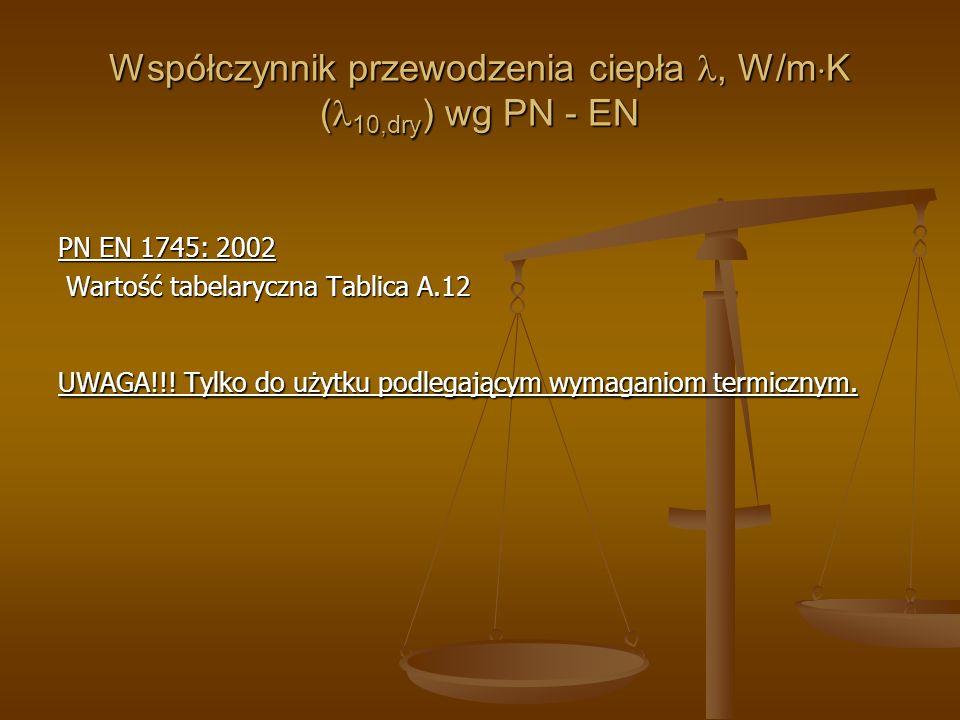 Współczynnik przewodzenia ciepła, W/m K ( 10,dry ) wg PN - EN PN EN 1745: 2002 Wartość tabelaryczna Tablica A.12 Wartość tabelaryczna Tablica A.12 UWA