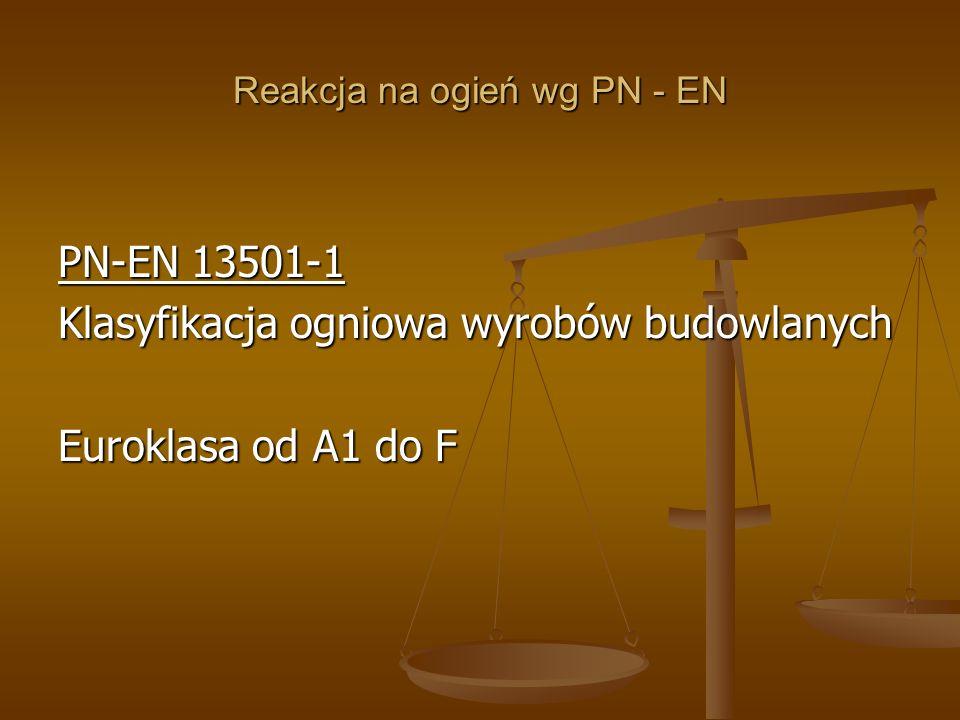 Reakcja na ogień wg PN - EN PN-EN 13501-1 Klasyfikacja ogniowa wyrobów budowlanych Euroklasa od A1 do F