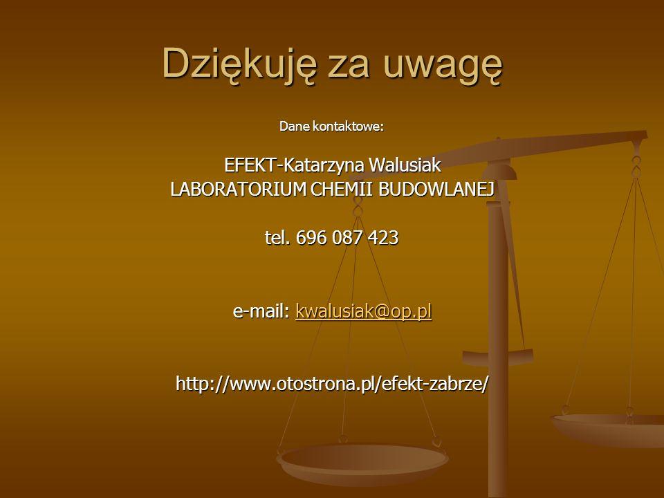 Dziękuję za uwagę Dane kontaktowe: EFEKT-Katarzyna Walusiak LABORATORIUM CHEMII BUDOWLANEJ tel. 696 087 423 e-mail: kwalusiak@op.pl kwalusiak@op.pl ht