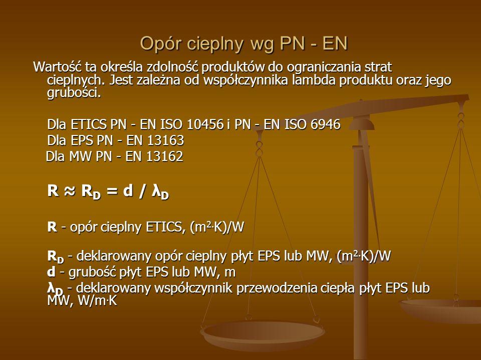 Opór cieplny wg ZUAT Opór cieplny wg ZUAT Normy PN – EN 13499: 2005 i PN – EN 13500: 2005 dotyczą systemów o deklarowanym oporze cieplnym równym 1,0 m 2.
