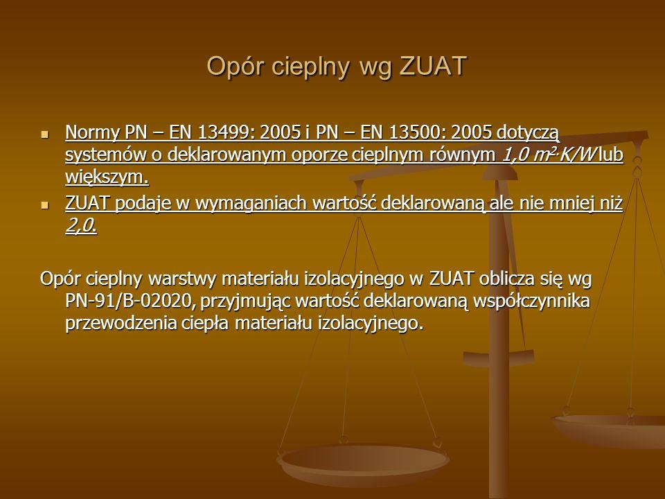 Opór cieplny wg ZUAT Opór cieplny wg ZUAT Normy PN – EN 13499: 2005 i PN – EN 13500: 2005 dotyczą systemów o deklarowanym oporze cieplnym równym 1,0 m