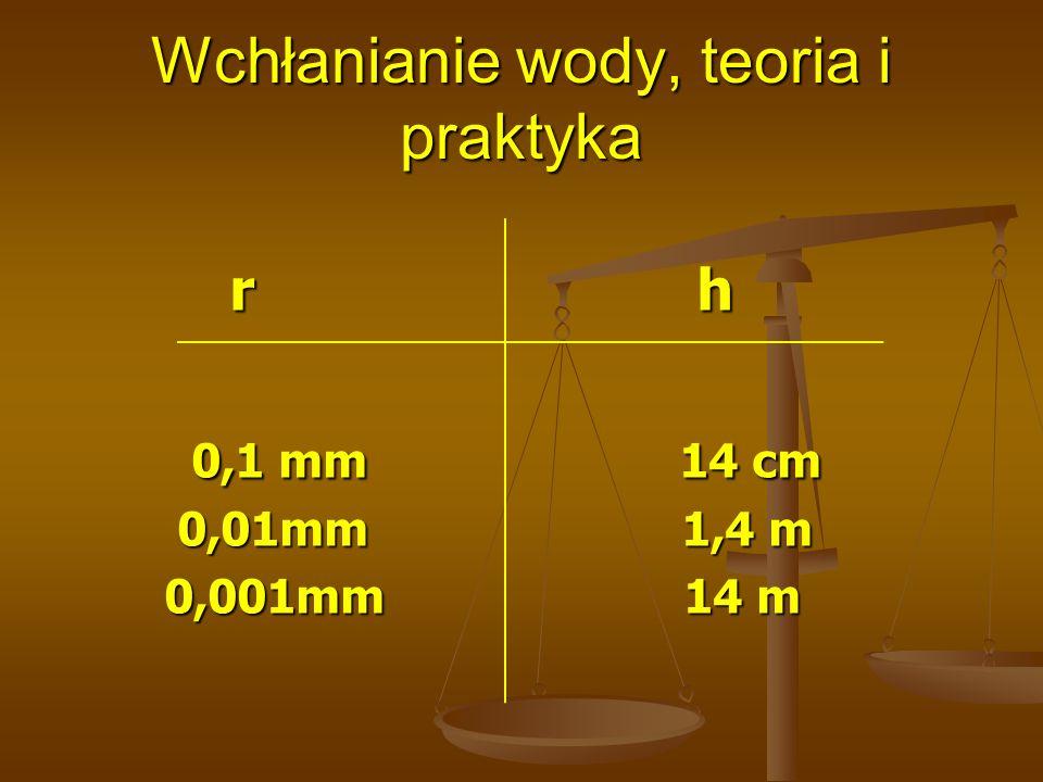 Wchłanianie wody, teoria i praktyka r h r h 0,1 mm 14 cm 0,1 mm 14 cm 0,01mm 1,4 m 0,01mm 1,4 m 0,001mm 14 m 0,001mm 14 m