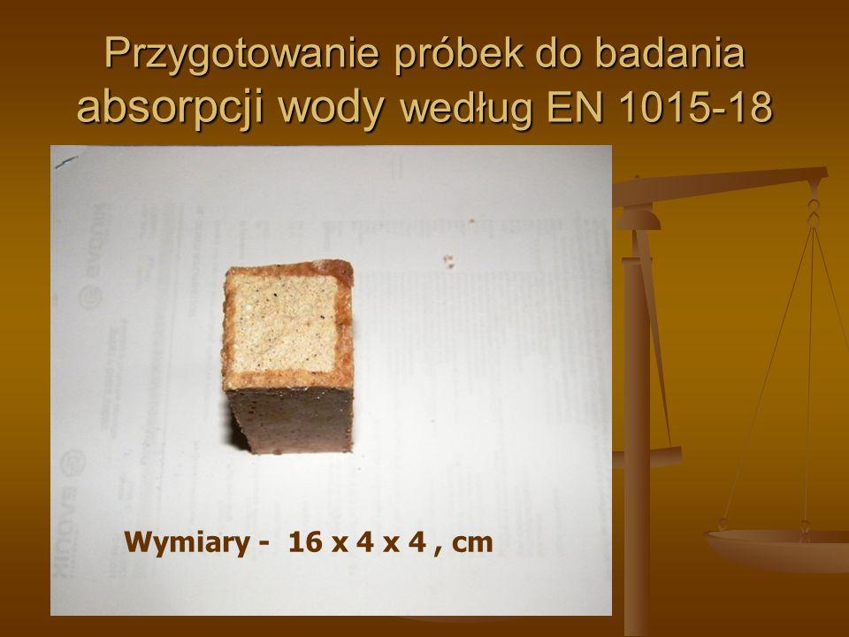 Przygotowanie próbek do badania absorpcji wody według EN 1015-18 Wymiary - 16 x 4 x 4, cm