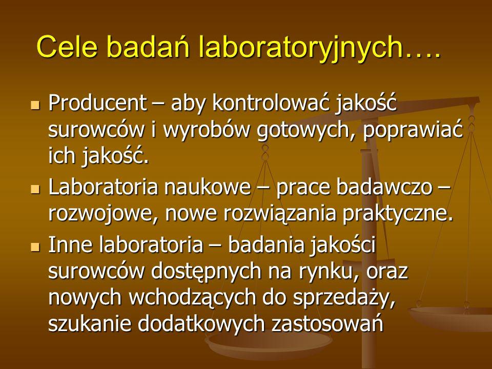 Cele badań laboratoryjnych…. Producent – aby kontrolować jakość surowców i wyrobów gotowych, poprawiać ich jakość. Producent – aby kontrolować jakość