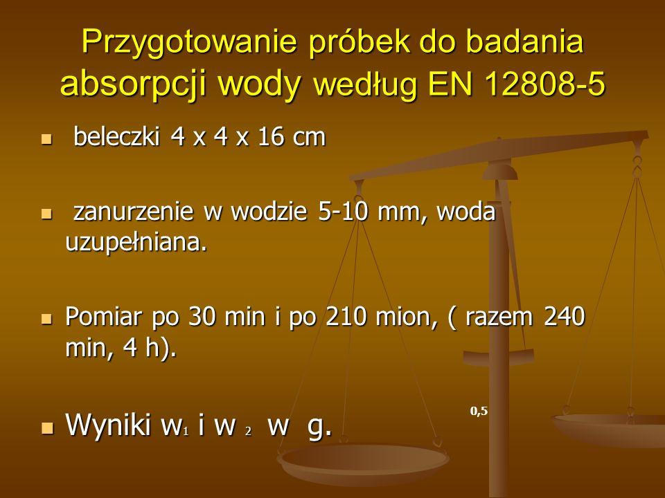 Przygotowanie próbek do badania absorpcji wody według EN 12808-5 beleczki 4 x 4 x 16 cm beleczki 4 x 4 x 16 cm zanurzenie w wodzie 5-10 mm, woda uzupe