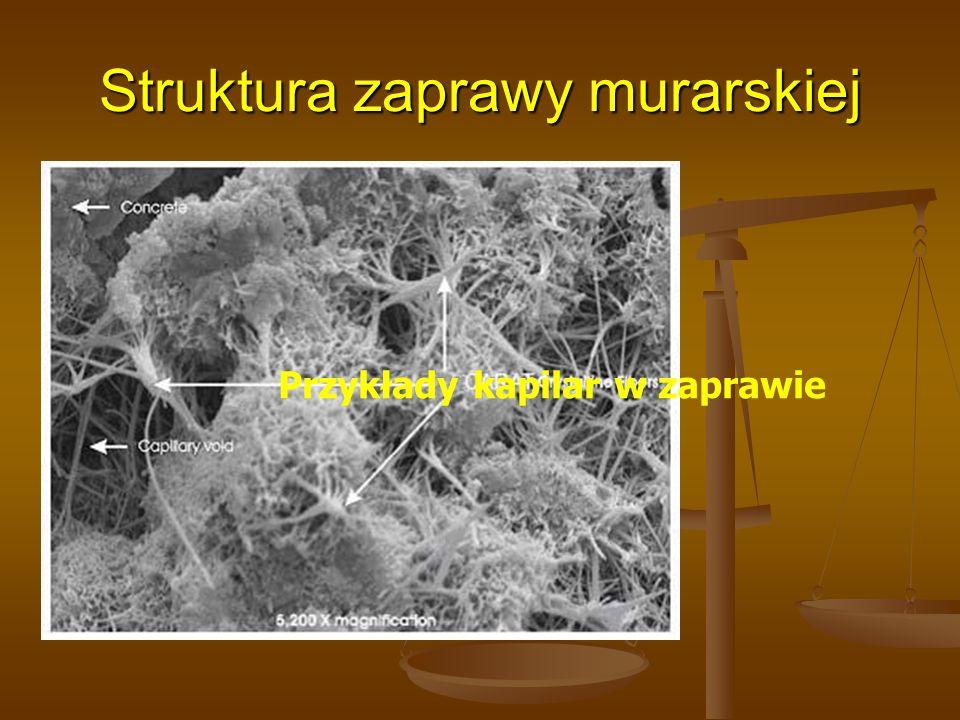 Przykłady kapilar w zaprawie Struktura zaprawy murarskiej