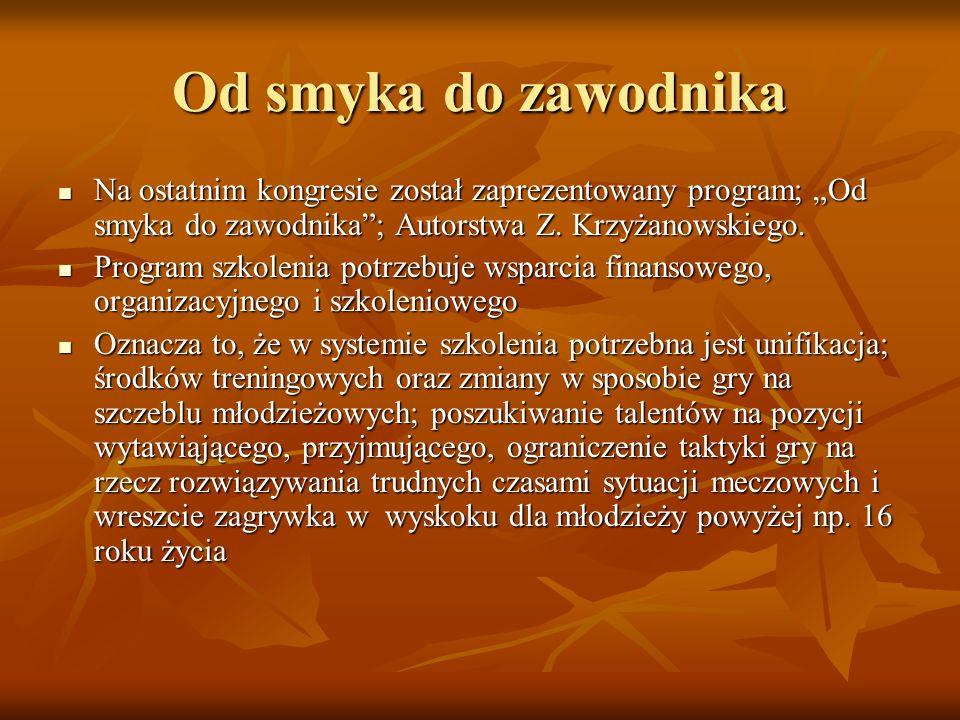 Nasz program rozwoju siatkówki młodzieżowej W Polsce potrzebny jest taki program rozwoju piłki siatkowej wśród dzieci. Jednak nie możemy zrobić kopii