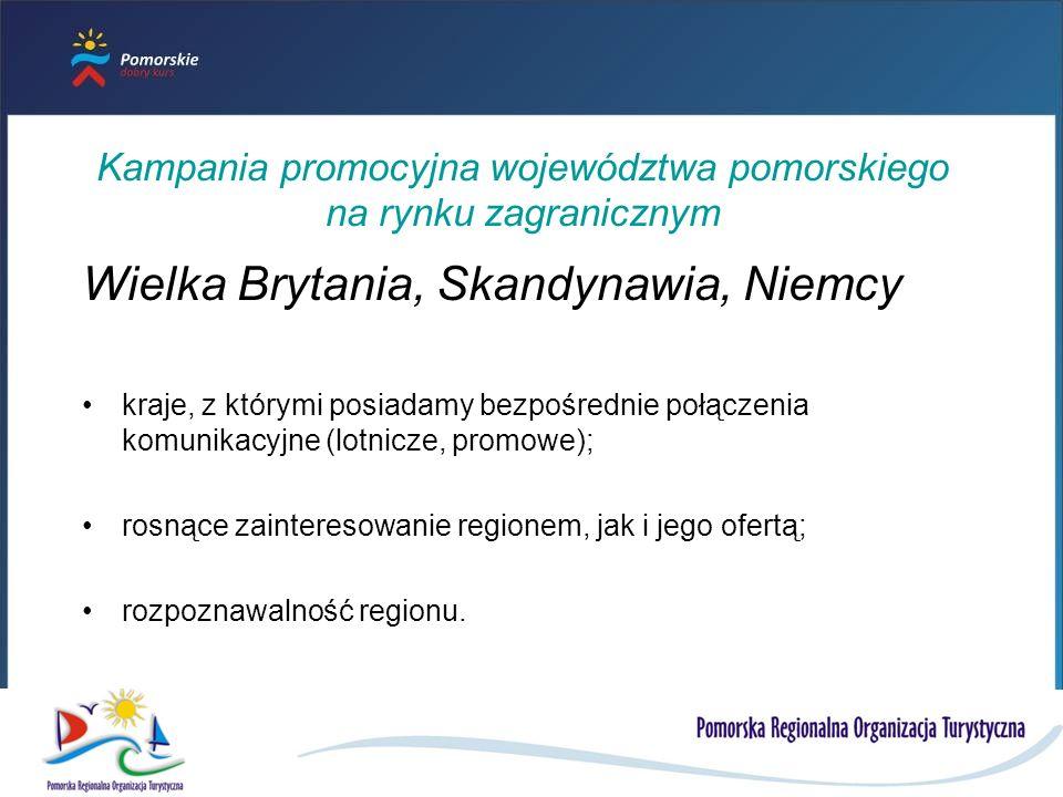 Kampania promocyjna województwa pomorskiego na rynku zagranicznym Wielka Brytania, Skandynawia, Niemcy kraje, z którymi posiadamy bezpośrednie połączenia komunikacyjne (lotnicze, promowe); rosnące zainteresowanie regionem, jak i jego ofertą; rozpoznawalność regionu.