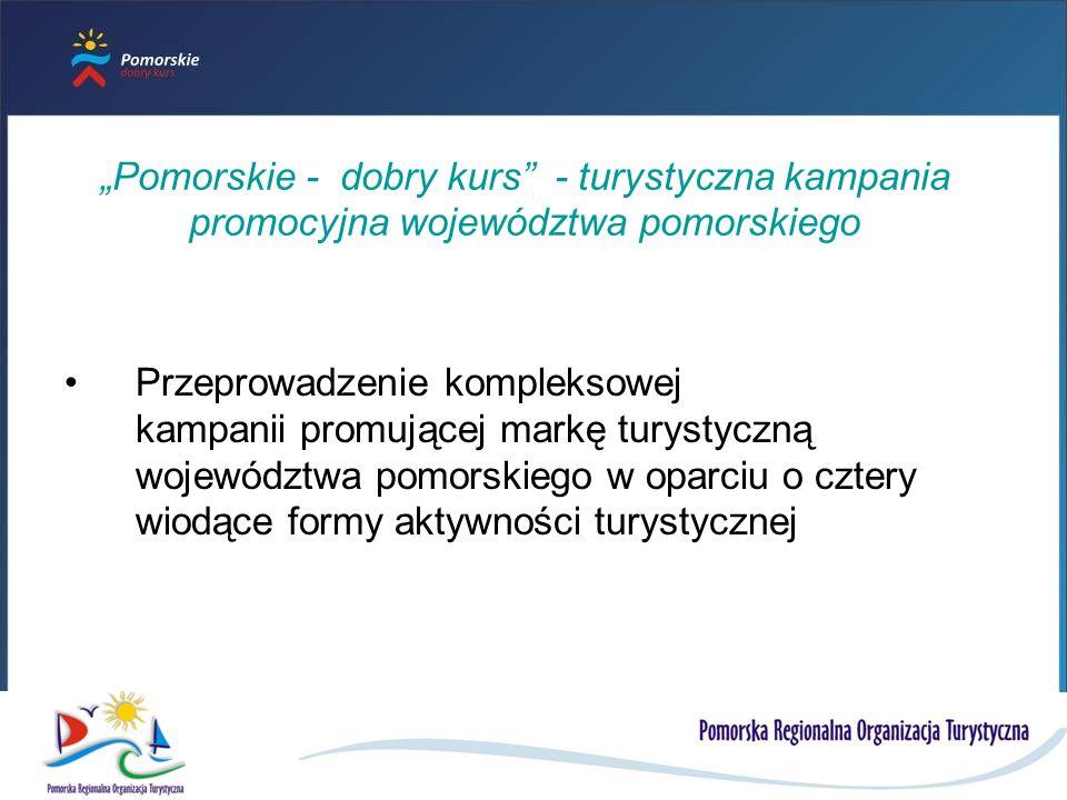 Pomorskie - dobry kurs - turystyczna kampania promocyjna województwa pomorskiego Przeprowadzenie kompleksowej kampanii promującej markę turystyczną województwa pomorskiego w oparciu o cztery wiodące formy aktywności turystycznej
