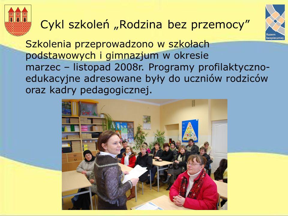 Cykl szkoleń Rodzina bez przemocy Szkolenia przeprowadzono w szkołach podstawowych i gimnazjum w okresie marzec – listopad 2008r. Programy profilaktyc