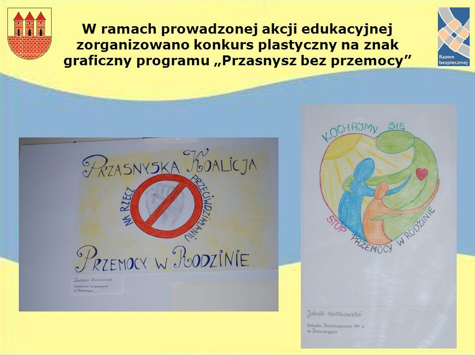 W ramach prowadzonej akcji edukacyjnej zorganizowano konkurs plastyczny na znak graficzny programu Przasnysz bez przemocy