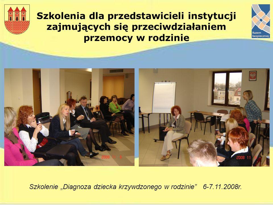 Szkolenia dla przedstawicieli instytucji zajmujących się przeciwdziałaniem przemocy w rodzinie Szkolenie Diagnoza dziecka krzywdzonego w rodzinie 6-7.