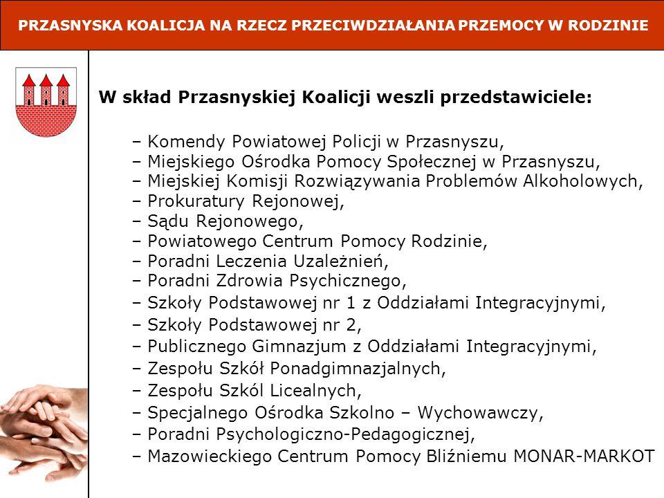W skład Przasnyskiej Koalicji weszli przedstawiciele: – Komendy Powiatowej Policji w Przasnyszu, – Miejskiego Ośrodka Pomocy Społecznej w Przasnyszu,