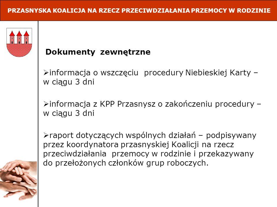 Dokumenty zewnętrzne informacja o wszczęciu procedury Niebieskiej Karty – w ciągu 3 dni informacja z KPP Przasnysz o zakończeniu procedury – w ciągu 3