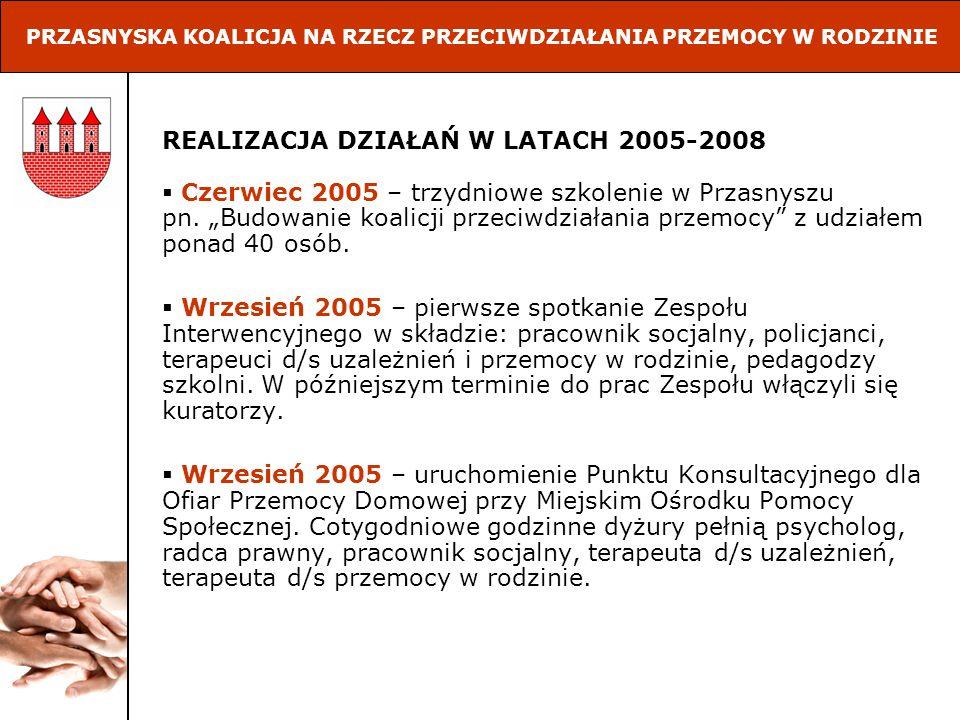 REALIZACJA DZIAŁAŃ W LATACH 2005-2008 Czerwiec 2005 – trzydniowe szkolenie w Przasnyszu pn. Budowanie koalicji przeciwdziałania przemocy z udziałem po