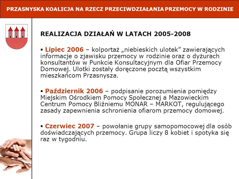 REALIZACJA DZIAŁAŃ W LATACH 2005-2008 Październik 2007 – złożenie wniosku o dofinansowanie projektu Przasnysz bez przemocy, realizowanego w ramach rządowego programu Razem Bezpieczniej do Mazowieckiego Urzędu Wojewódzkiego – Wydział Zarządzania Kryzysowego.