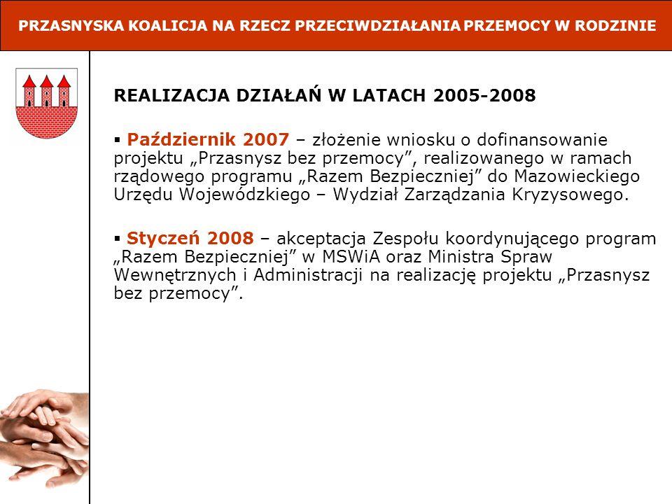 REALIZACJA DZIAŁAŃ W LATACH 2005-2008 Październik 2007 – złożenie wniosku o dofinansowanie projektu Przasnysz bez przemocy, realizowanego w ramach rzą