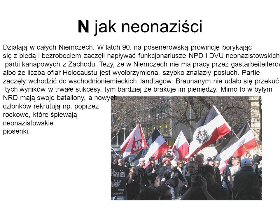 N N jak neonaziści Działają w całych Niemczech.W latch 90.