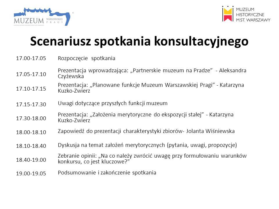 Scenariusz spotkania konsultacyjnego 17.00-17.05 Rozpoczęcie spotkania 17.05-17.10 Prezentacja wprowadzająca: Partnerskie muzeum na Pradze - Aleksandr