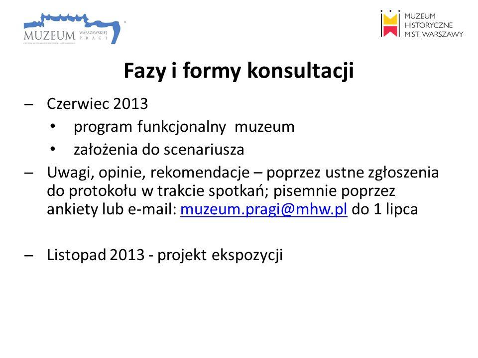 Fazy i formy konsultacji ̶Czerwiec 2013 program funkcjonalny muzeum założenia do scenariusza ̶Uwagi, opinie, rekomendacje – poprzez ustne zgłoszenia d