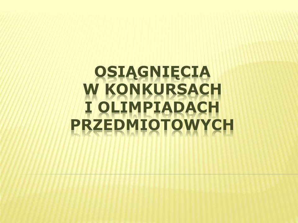 Tenis stołowy Reprezentacja Dziewcząt 5.m w finale powiatowym Ewa Kułaga Reprezentacja chłopców 5.m w finale rejonowym Wychowanie Fizyczne Nazwa konkursuUczeńMiejsceNauczyciel