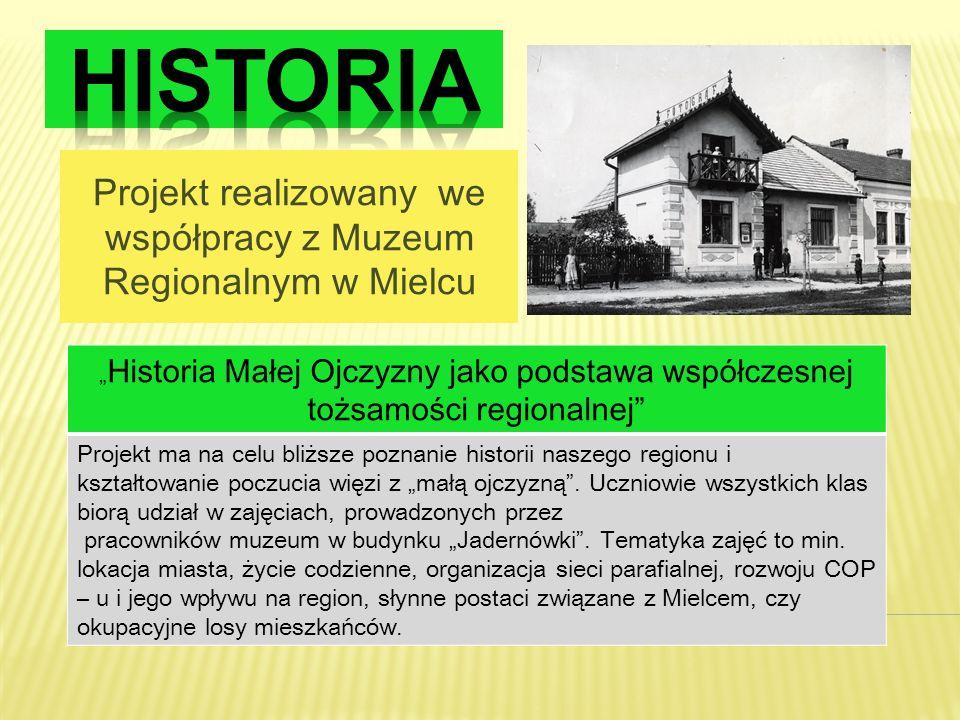 Projekt realizowany we współpracy z Muzeum Regionalnym w Mielcu Historia Małej Ojczyzny jako podstawa współczesnej tożsamości regionalnej Projekt ma n
