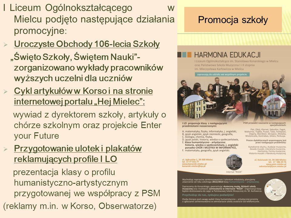 I Liceum Ogólnokształcącego w Mielcu podjęto następujące działania promocyjne : Uroczyste Obchody 106-lecia Szkoły Święto Szkoły, Świętem Nauki- zorga
