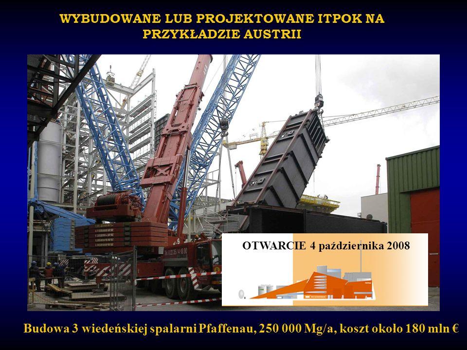 WYBUDOWANE LUB PROJEKTOWANE ITPOK NA PRZYKŁADZIE AUSTRII Budowa 3 wiedeńskiej spalarni Pfaffenau, 250 000 Mg/a, koszt około 180 mln OTWARCIE 4 paździe