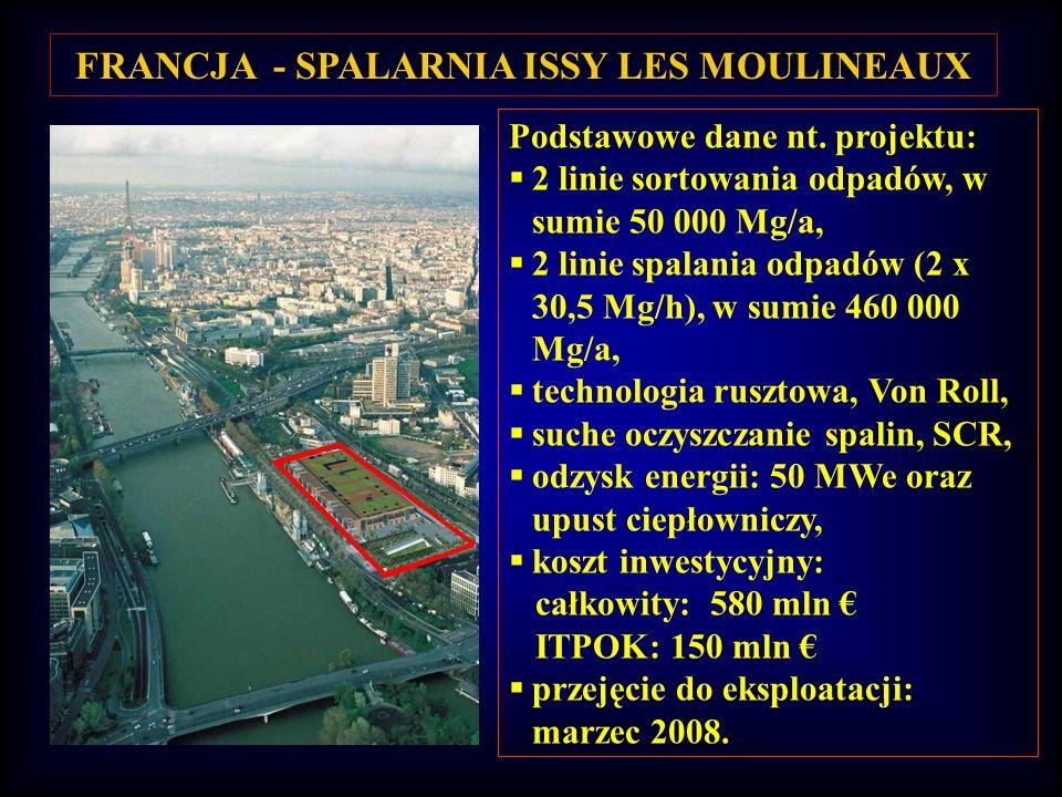 FRANCJA - SPALARNIA ISSY LES MOULINEAUX Podstawowe dane nt. projektu: 2 linie sortowania odpadów, w sumie 50 000 Mg/a, 2 linie spalania odpadów (2 x 3