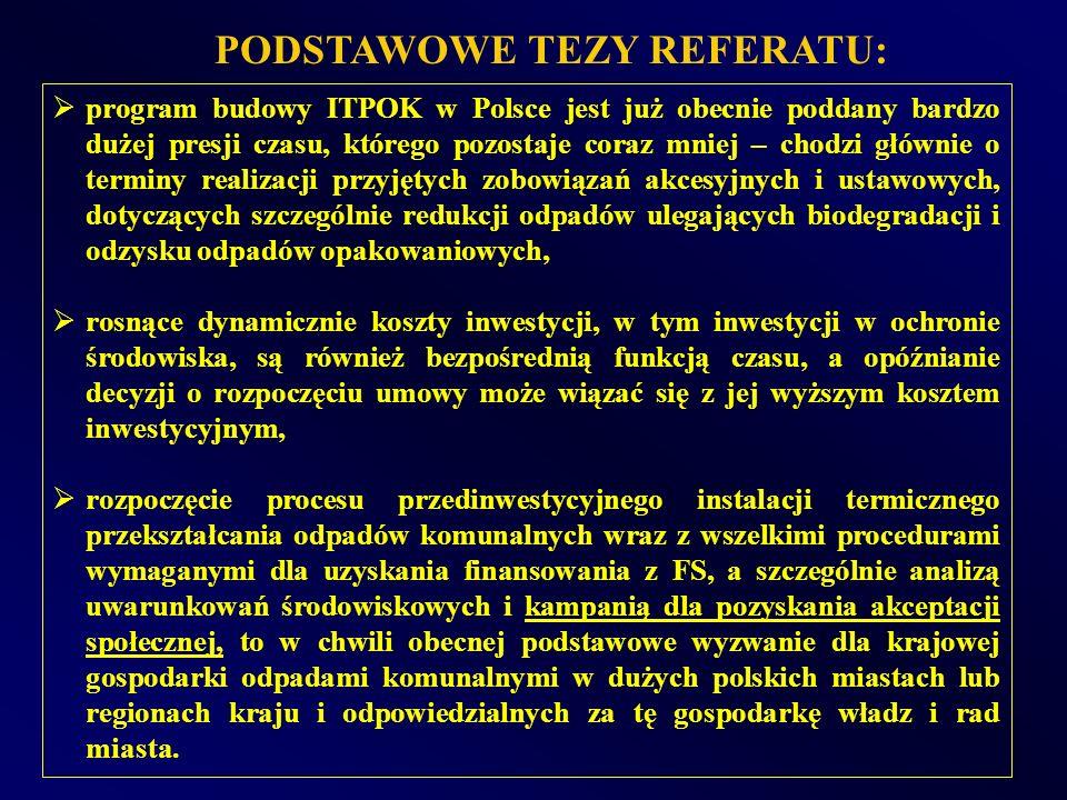 PODSTAWOWE TEZY REFERATU: program budowy ITPOK w Polsce jest już obecnie poddany bardzo dużej presji czasu, którego pozostaje coraz mniej – chodzi głó