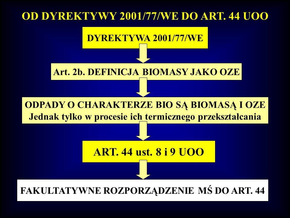 OD DYREKTYWY 2001/77/WE DO ART. 44 UOO DYREKTYWA 2001/77/WE Art. 2b. DEFINICJA BIOMASY JAKO OZE ODPADY O CHARAKTERZE BIO SĄ BIOMASĄ I OZE Jednak tylko