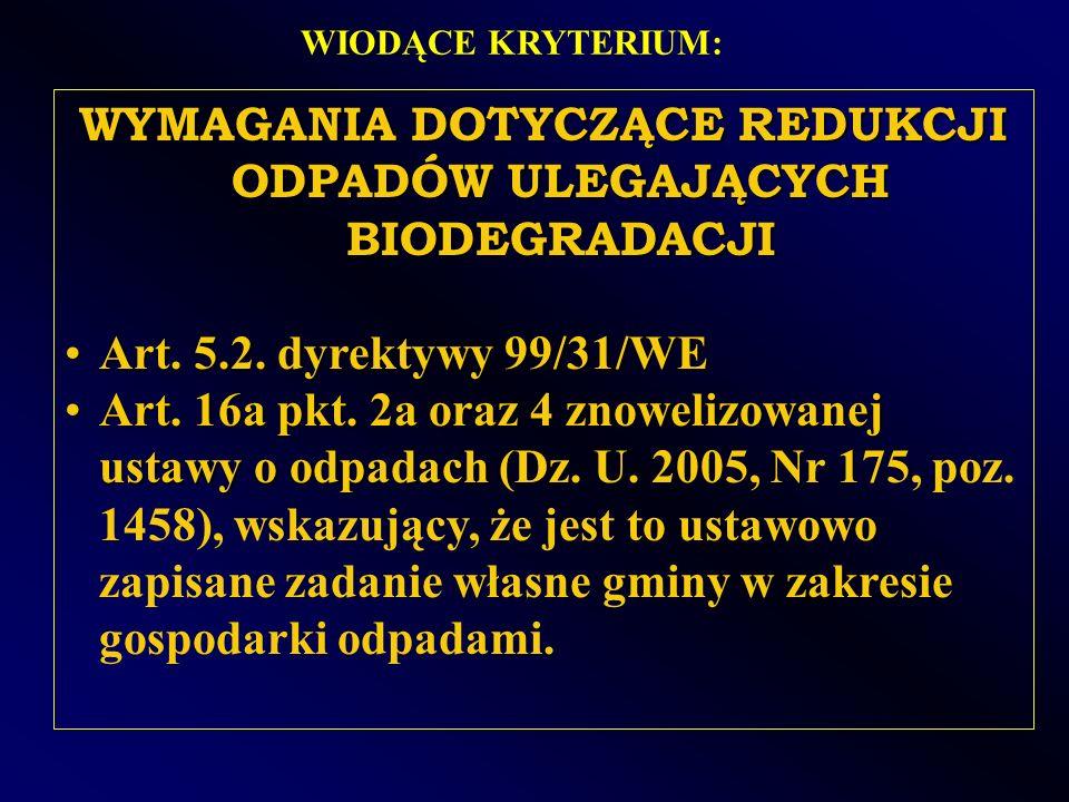 WYMAGANIA DOTYCZĄCE REDUKCJI ODPADÓW ULEGAJĄCYCH BIODEGRADACJI Art. 5.2. dyrektywy 99/31/WEArt. 5.2. dyrektywy 99/31/WE Art. 16a pkt. 2a oraz 4 znowel