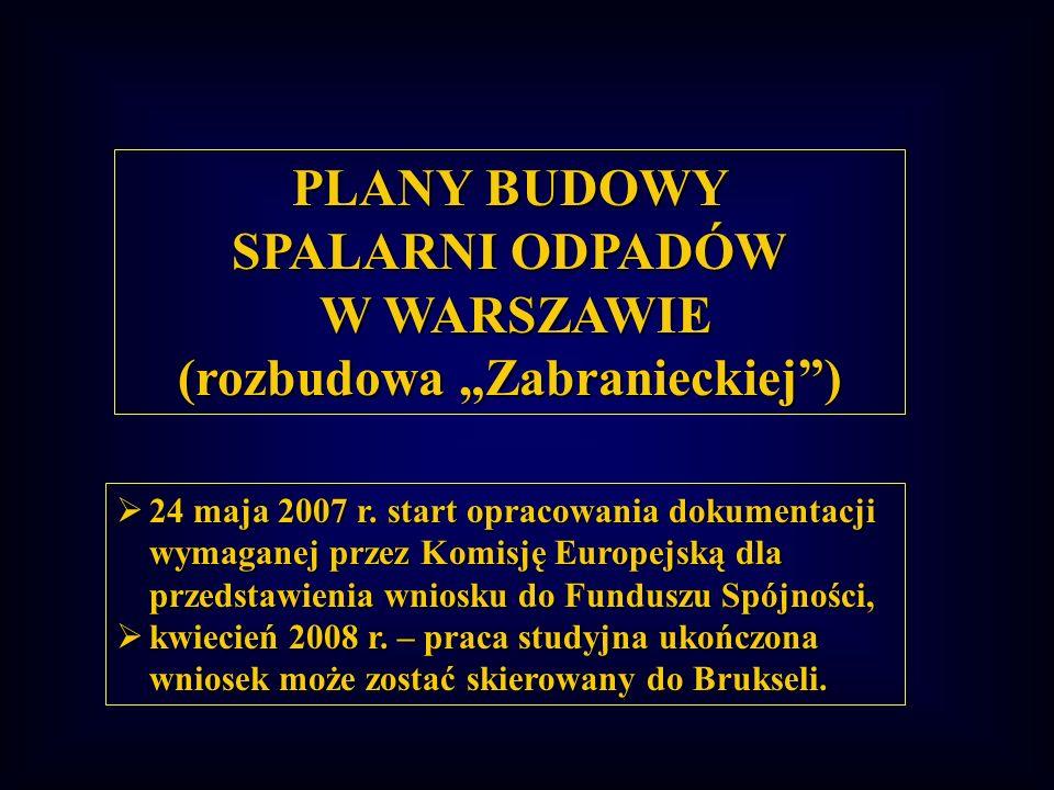 PLANY BUDOWY SPALARNI ODPADÓW W WARSZAWIE (rozbudowa Zabranieckiej) 24 maja 2007 r. start opracowania dokumentacji wymaganej przez Komisję Europejską