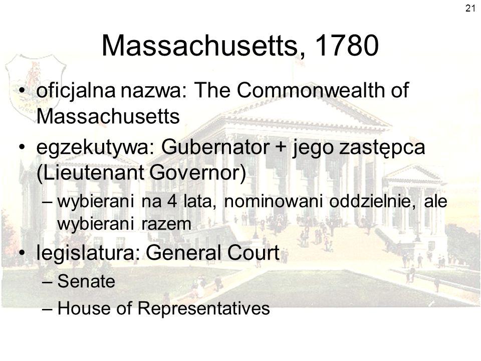 21 Massachusetts, 1780 oficjalna nazwa: The Commonwealth of Massachusetts egzekutywa: Gubernator + jego zastępca (Lieutenant Governor) –wybierani na 4
